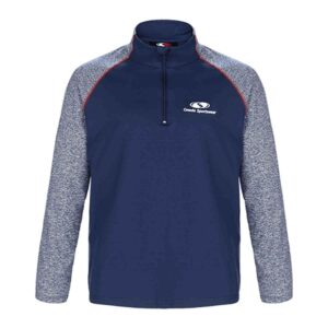 Two-toned 1/4 zip pullover with contrast stitching